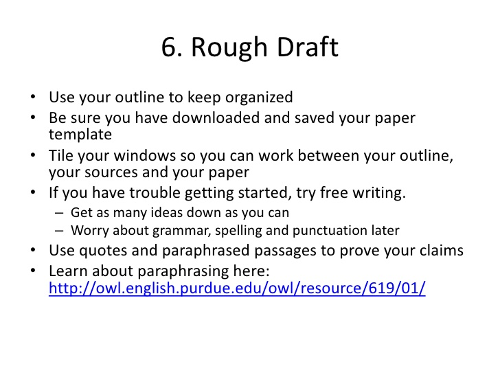 research paper first draft example